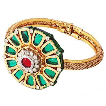 Variation Green Meenakari Flower Shape Austrian Diamond Openable Bangle_Vd11475
