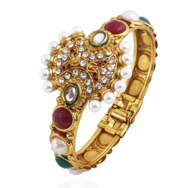 Variation Maroon & Green Pearl Studded Designer Bridal Bangle_Vd13154