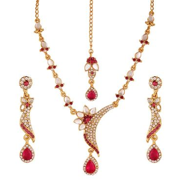 Variation Pink Gold Plated Kundan Necklace With Earrings & Mangtika_Vd13896