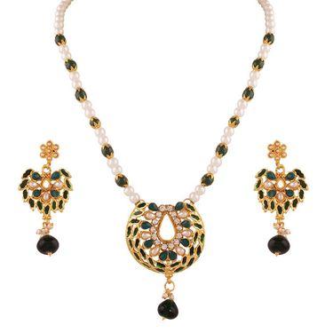 Variation Green Pearl Semi Necklace Set_Vd14007