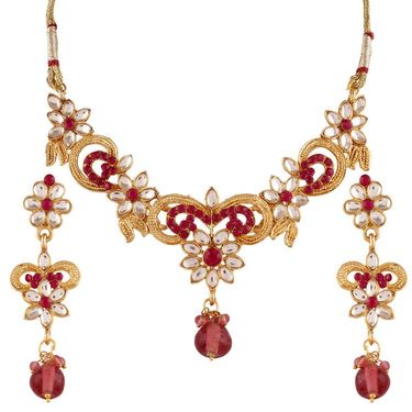 Variation Pink Kundan Gold Plated Necklace Set_Vd14207