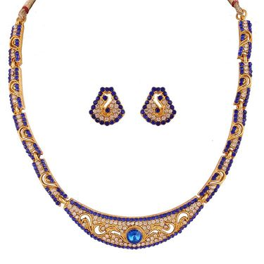 Variation Blue Austrian Diamond Party Wear Necklace Set_Vd14586