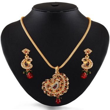 Variation Multi Colored Gold Plated Party Wear Pendant Set_Vd15277