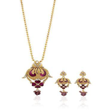 Variation Purple Meenakari Gold Plated Chain Pendant Set_Vd15782