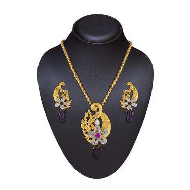 Variation Gold Plated Purple Fashion Pendant Set_Vd15843