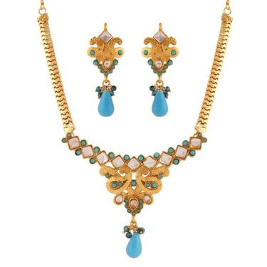 Variation Blue Artificial Stone Necklace Set_Vd15937