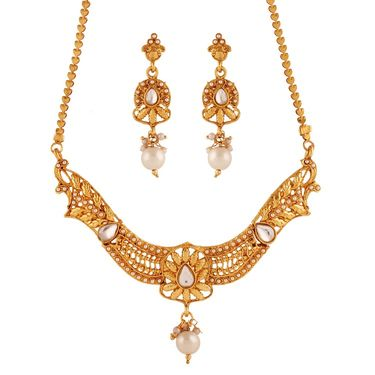 Variation Beautiful White Pearl Necklace Set_Vd15942