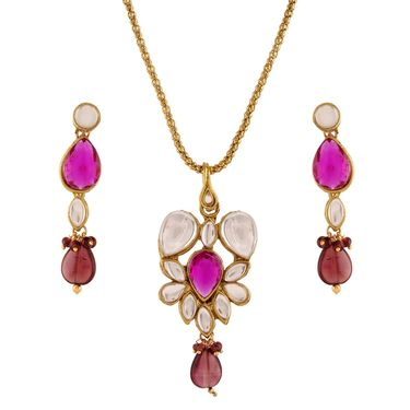 Variation Purple Kundan Stone Studded Pendant Set_Vd15952