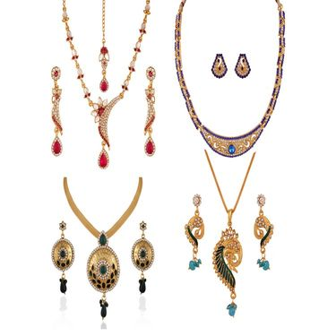 Combo of 2 Variation Necklace Sets + 2 Chain Pendent Sets_Vd15986