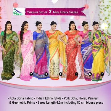 Vaibhavi Set of 7 Kota Doria Sarees (7K1)