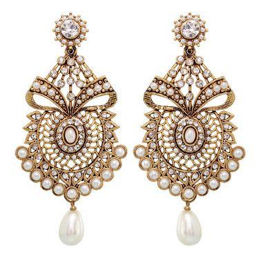 Vendee Fashion Textured Metal Earrings - Golden - 8404