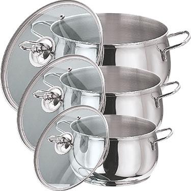 Vinod 202 3pcs Tall Belly Casserole - Silver