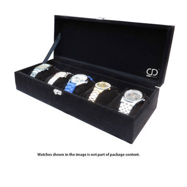 Wrist Watch Organiser With 5 Separate Cushioned - Black