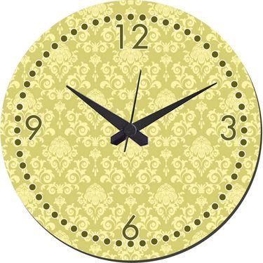 meSleep Sap Green Self Print  Wall Clock With Glass Top-WCGL-02-28