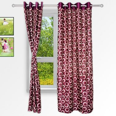 Story @ Home Maroon 2 pc Window curtain-5 feet-WNR2022