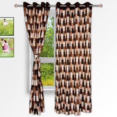 Story @ Home Brown 2 pc Window curtain-5 feet-WNR2044