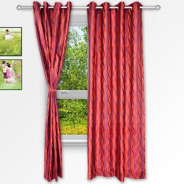 Story @ Home Maroon 2 pc Window curtain-5 feet-WNR3023