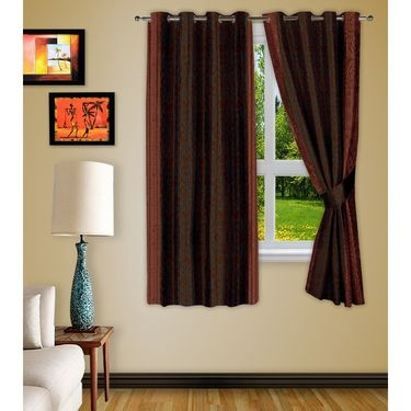 Story @ Home Brown 2 pc Window curtain-5 feet-WNR3027