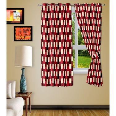 Story @ Home Red 2 pc Window curtain-5 feet-WNR3050