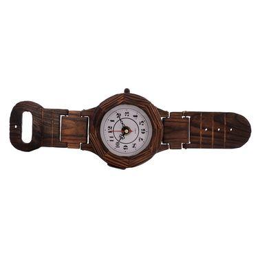 eCraftIndia Antique Wrist Watch Shape Wooden Wall Clock-WOWW509