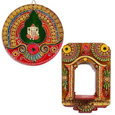Combo of Wood Clay Art Work Wall D�cor & Palace Window Wall Photo Frame-WUDCLY1459_WUDCLY1460