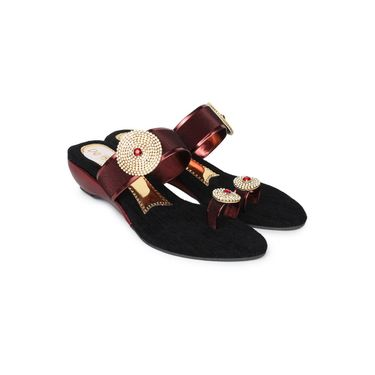 Do Bhai Faux Leather Womens Sandals -300-Maroon