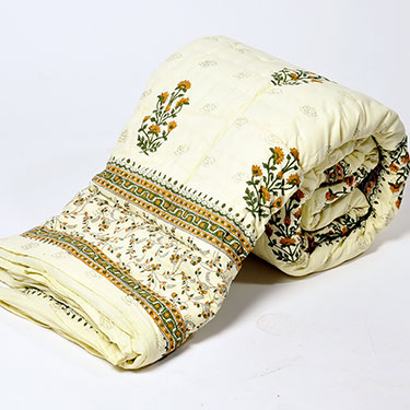 Little India Designer Printed Cotton Double AC Quilt - White