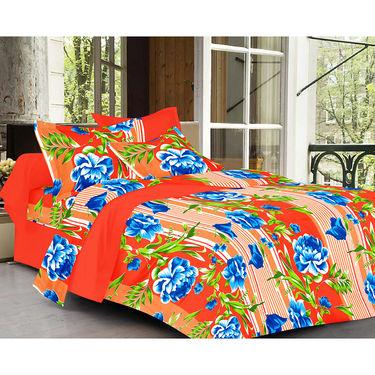 Valtellina Floral Design Orange Color   Stripes Double bedsheet With 2 Pillow cover