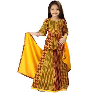 Little India Yellow Rajasthani Zigzag Design Lehanga Choli - DLI3GED106C
