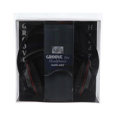 Zen Groove Flex Foldable Headphone with Mic - Black