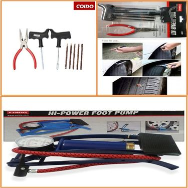 Combo of Coido 6081 Tyre Puncture Repair Kit with Rubber Strands and Pillar + Multipurpose Single Barrel Foot pump for Bike/Car._WSR892015