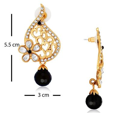 Spargz 4 Pair Color Black Earring Studded With AD Stone_Cb362