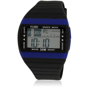 Fluid Digital Square Dial Watch For Unisex_d01bl01 - Black & Blue