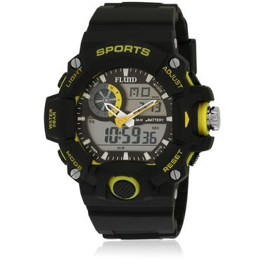 Fluid Analog & Digital Round Dial Watch For Unisex_d06yl01 - Black & Yellow