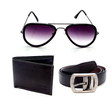 Combo of Porcupine reversible Belt + Wallet + Sunglasses with free cover_GRJCOMBO-3
