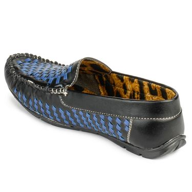 Foot n Style Leather Black & Blue Loafers Shoes -fs3002