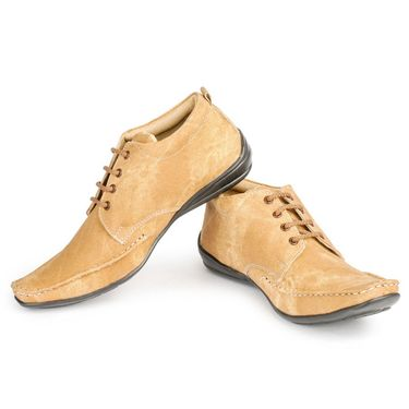 Foot n Style Nubuck Leather Beige Casual Shoes -fs3028