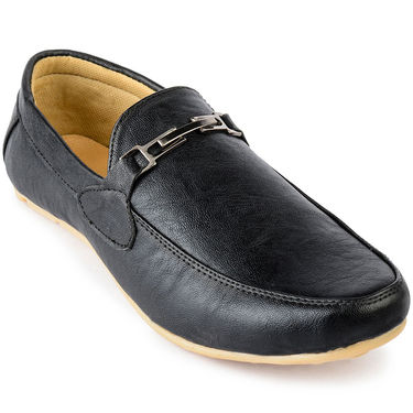 Foot n Style Leather Black Loafers Shoes -fs3103