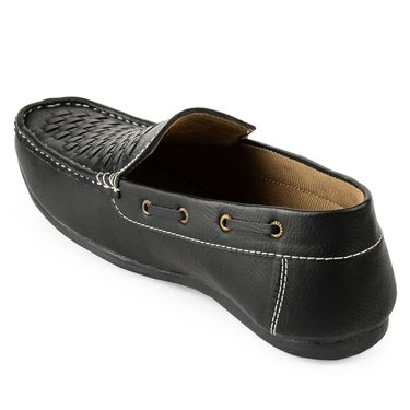 Foot n Style Synthetic Leather Black Loafers Shoes -fs3104