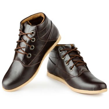 Foot n Style Leather Brown Sneaker Shoes -fs3117