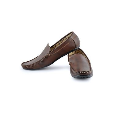 Foot n Style Cordovan Leather Loafer Shoes FS 353 -Brown