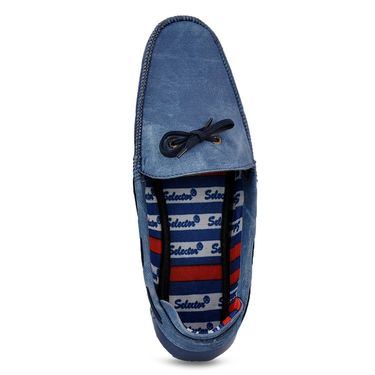 Foot n Style  Leather Loafer Shoes FS 357 -Blue
