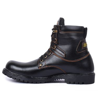 Foot n Style Leather Black Boots -Fs4013