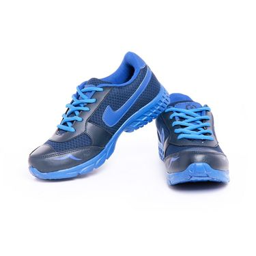 Foot n Style Synthetic Leather Sports Shoes FS 450 -Blue & Grey