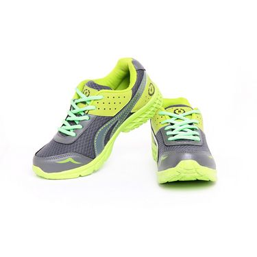 Foot n Style Synthetic Leather Sports Shoes FS 455 -Grey & Yellow