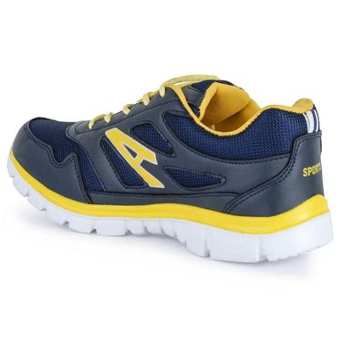 Foot n Style Synthetic Leather Sports Shoes FS 525 -Grey & Yellow