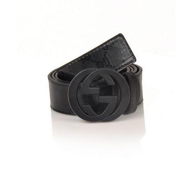 Branded Casual Leather Belt For Men_gc_bk - Black