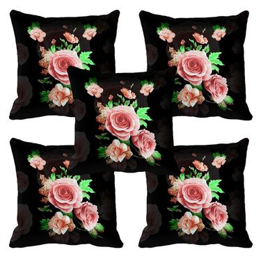 Set of 5 meSleep Digitally Printed Black Flower Cushion Cover-meSleep-Black-Flower