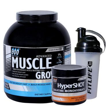 Gxn Advance Muscle Grow, 4 Lb ( 1.18Kgs ) Banana + Gxn Hyper Shot 300g