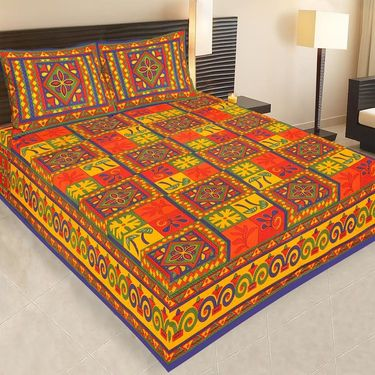 Set of 2 Traditional Jaipuri Print 100% Cotton Ethnic Double Bed sheets With 4 Pillow Covers -PF108DWP2B